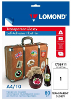 Пленка LOMOND для стр. печати, cамоклеящаяся, прозрачная, неделенная А4 80г/м2 10л