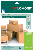 Самоклеящаяся цветная бумага LOMOND для этикеток, неоновая, зеленая, A4, (210 x 297 мм), 78 г/м2, 50 листов