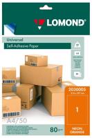 Самоклеящаяся цветная бумага LOMOND для этикеток, неоновая, оранжевая, A4, (210 x 297 мм), 78 г/м2, 50 листов