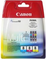 Оригинальный картридж CANON CLI-8 MultiPack (голубой + пурпурный + желтый)